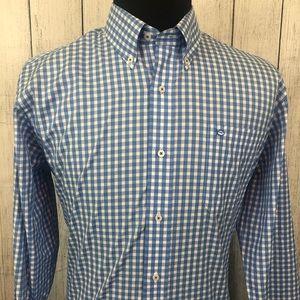 Southern Tide L Blue & White Gingham Button Shirt
